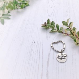 but first coffee and coffee bean keyring by janmary