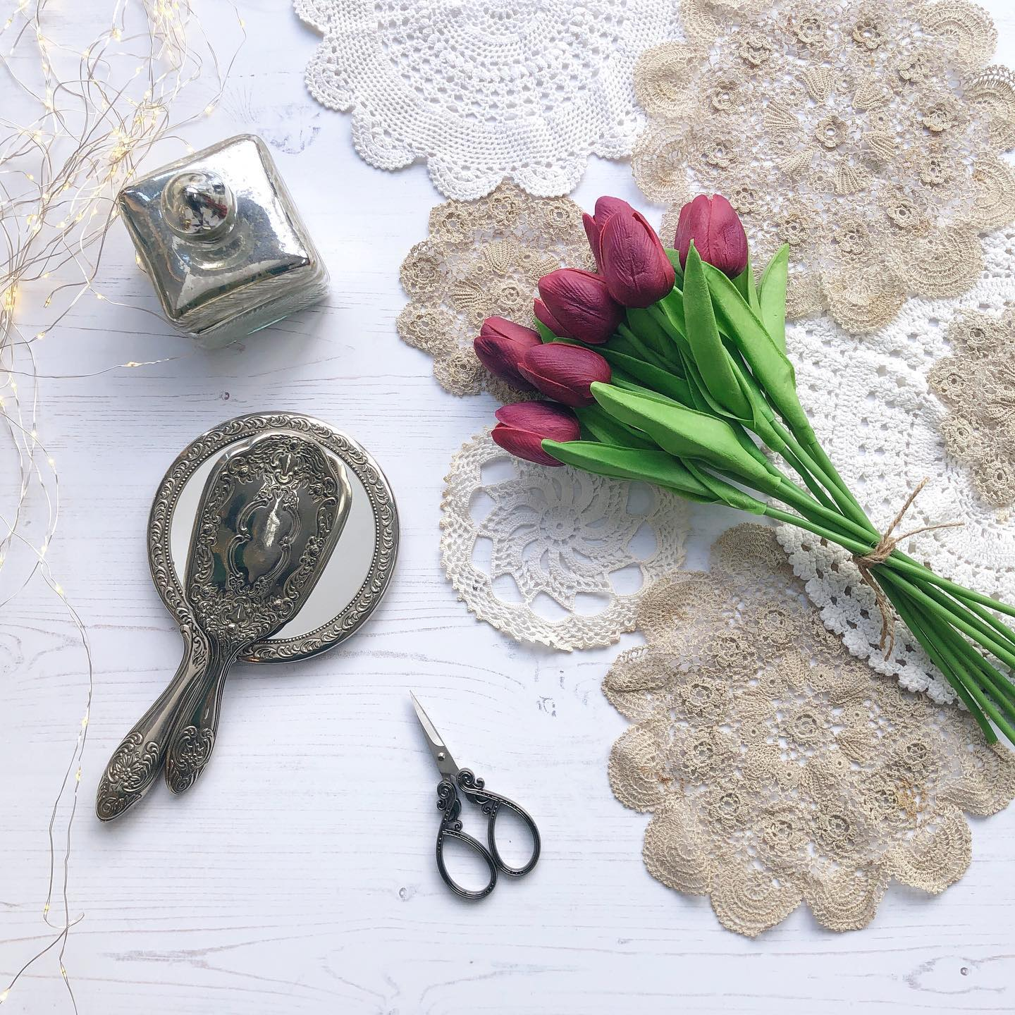 Tulips, lace and vintage finds