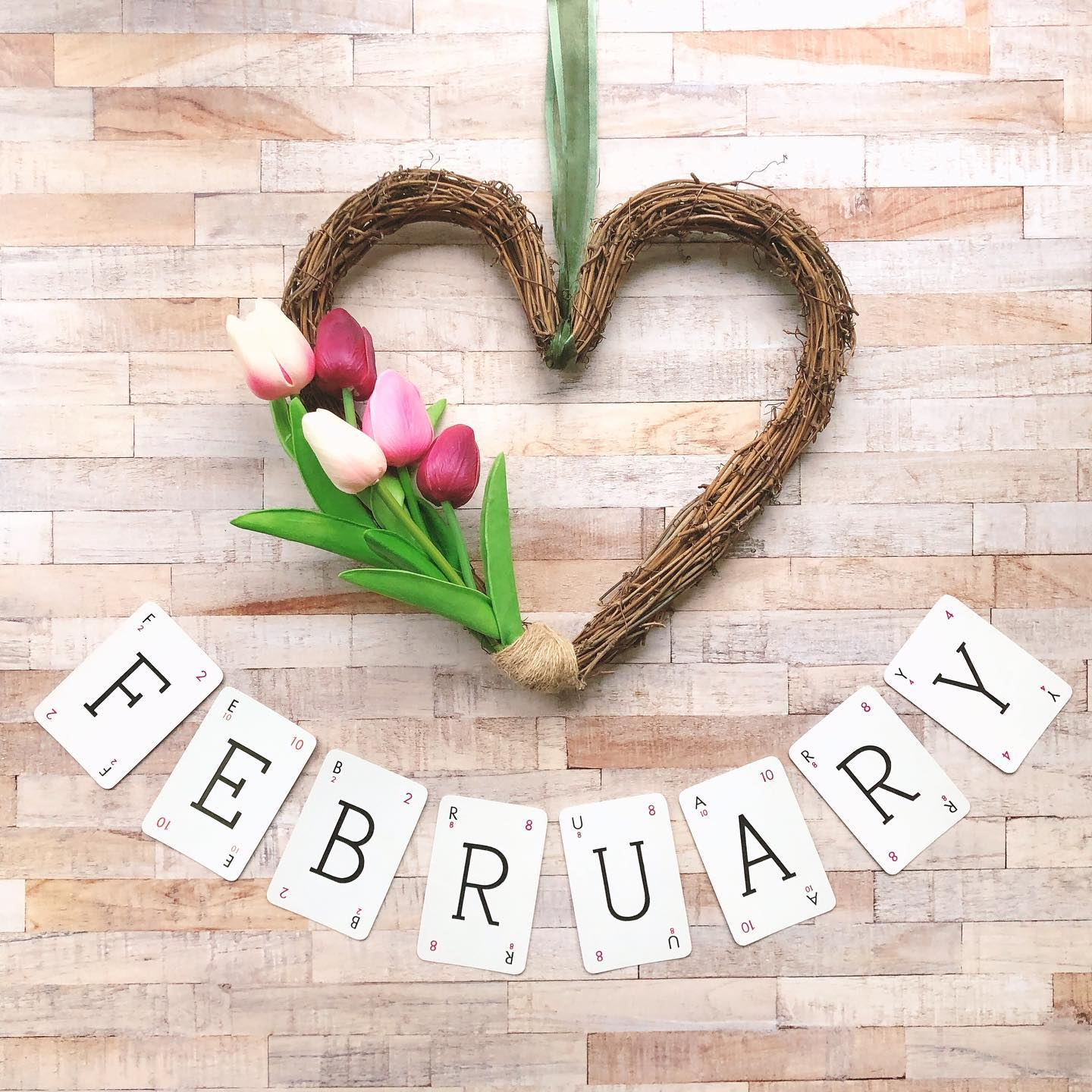Hello February! I created this new heart wreath for our from door for February