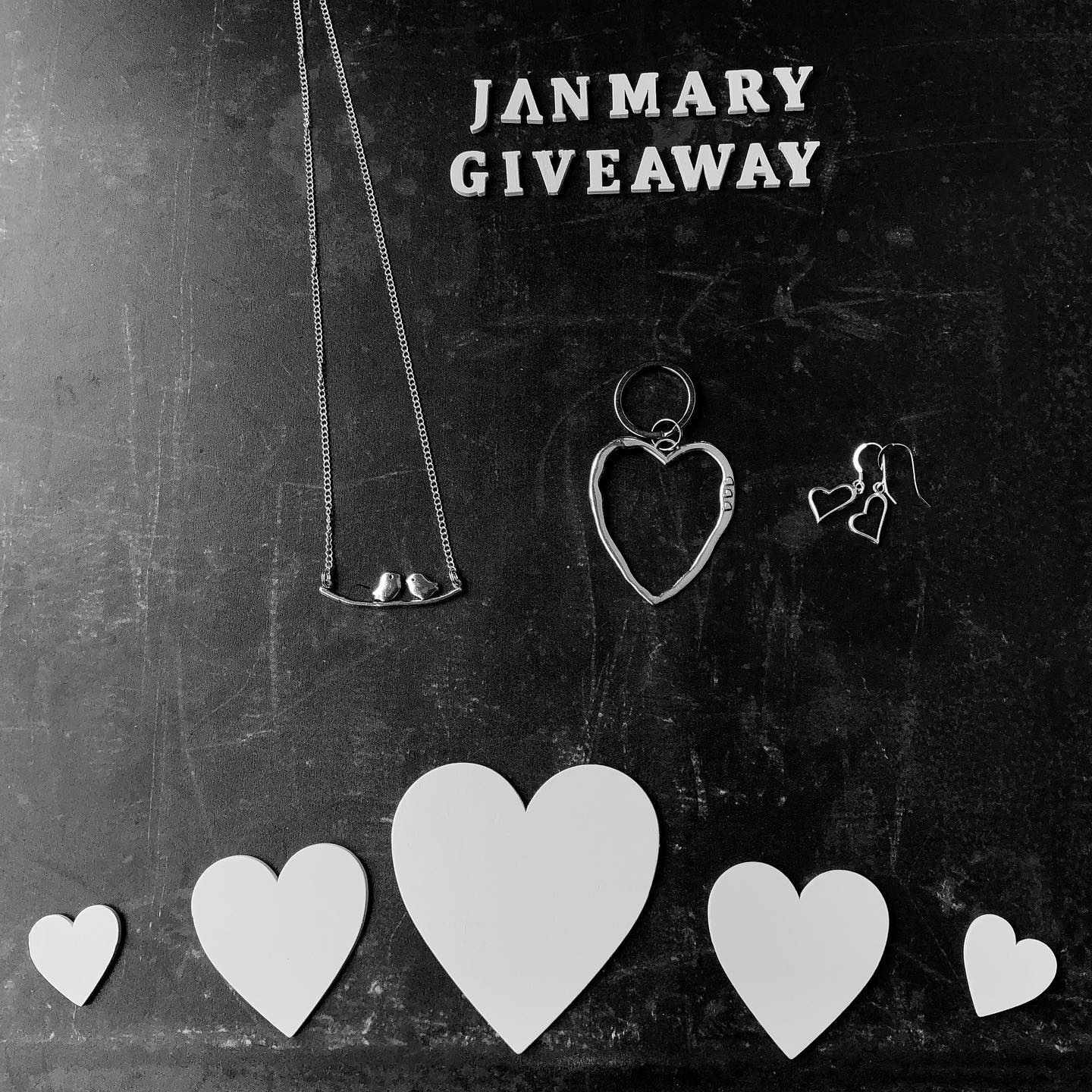 "️ GIVEAWAY TIME ️ The winner can choose their prize from of either heart earrings, twin bird necklace or heart keyring ️To win just :️ follow @janmary, like and share and comment ""DONE"" below ️️ bonus entry ️SUBSCRIBE to my Newsletter (link in bio) arrow ️️ giveaway closes Sunday 7th February 2021 @ 10pm ️ winner chosen at random️ not endorsed by instagram"