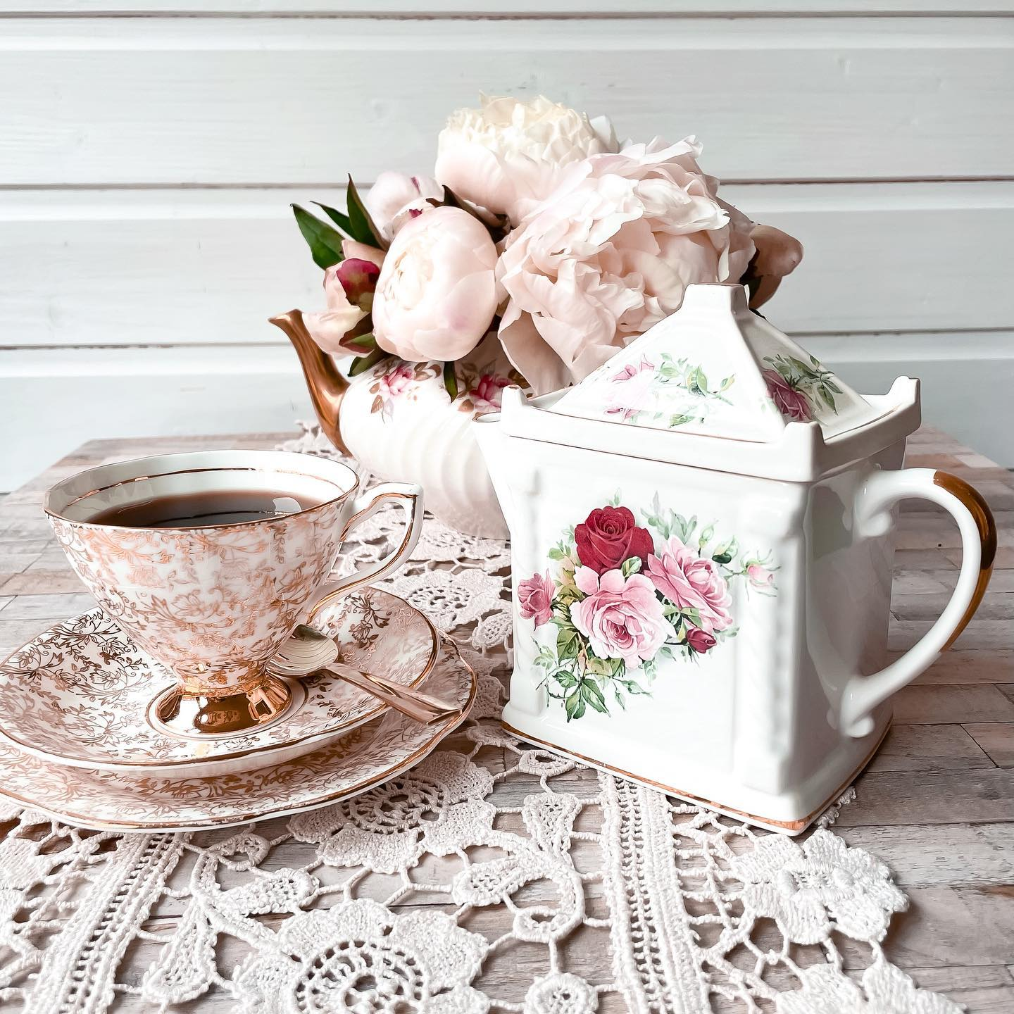 Peonies, porcelain china and pretty lace